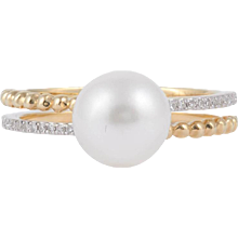 Cultured Pearl Diamond Gold Double Band Ring