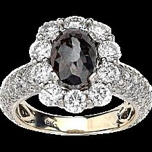 Noir Rough Black Oval Diamond Ring