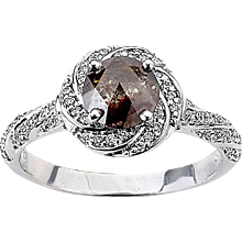 Twisted Halo with Brown/Grey Diamond Ring