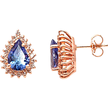 Pear Shape Tanzanite Diamond, Gold Stud Earrings