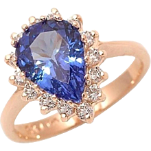 Pear Shape Tanzanite Diamond Gold Engagement Ring