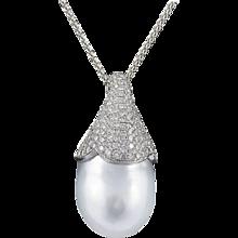 South Sea White Baroque Pendant With Silver Overtone