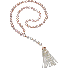 South Sea Pearl & Pink Freshwater Ombrè Tassel Necklace, Opera Length