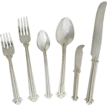 Museum Quality Hector Aguilar Rope Motif Sterling Flatware Set