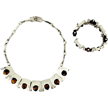 Antonio Pineda Tiger's Eye .970 Silver Necklace and Bracelet