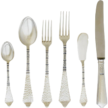 Robbe & Berking Hand-Hammered Silver Flatware Set for 12