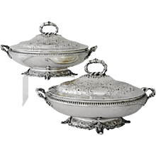 William Gale Coin Silver Pair of Covered Vegetable Dishes