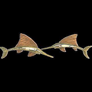 Los Castillo Brass and Abalone Swordfish Drawer Pulls
