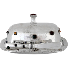 Emilia Castillo Sterling Silver Hand-Wrought Lidded Butter Dish, 1990
