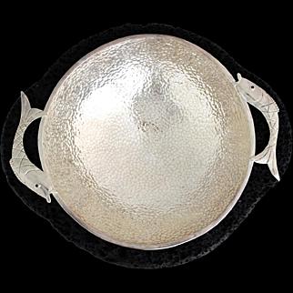 Emilia Castillo Silverplate & Lava Rock Fish Motif Bowl