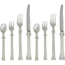 Set for Eight Antonio Pineda Sterling Silver Flatware 1950 34 pieces