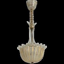 Gold Tone Seguso Glass Pendant, Italy, 1950s