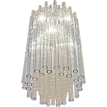 Blue and Clear Glass Barovier Attributed Chandelier, Italy, 1960s