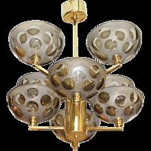 Posh Brass and Glass Stilnovo Chandelier, Italy 1970s
