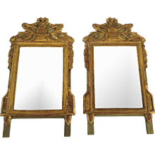 French 19th century Pair of Mirrors Gilt and Painted with Top Cartouche