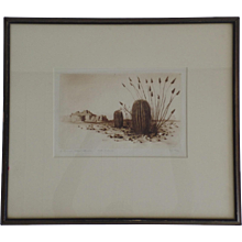 "BURR, George Elbert, (American, 1859-1939): ""Barrel Cactus"" Signed Etching"