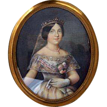 Small English Portrait Lady in Tiara Oval 19th Century