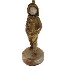 Georges Omerth  (fl.1895 - 1925)  Gilt Bronze Sculpture Boy Clown Costume Suit