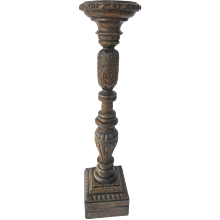 English Early Oak Carved Pedestal