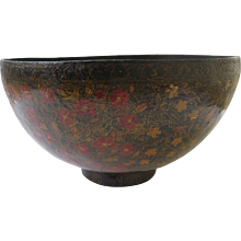 Very Large Kashmiri Lacquered PAPIER-MÂCHÉ Bowl