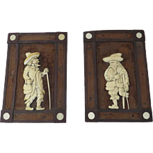 19th Century Continental Carved Figural Plaques in Original Frames German Beggers