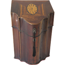 English Georgian Shaped Inlay Knife Box Circa 1790