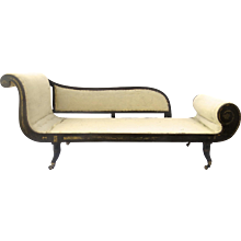 Regency Recamier Chaise Lounge Daybed Ebonized Gilt Finish c 1820