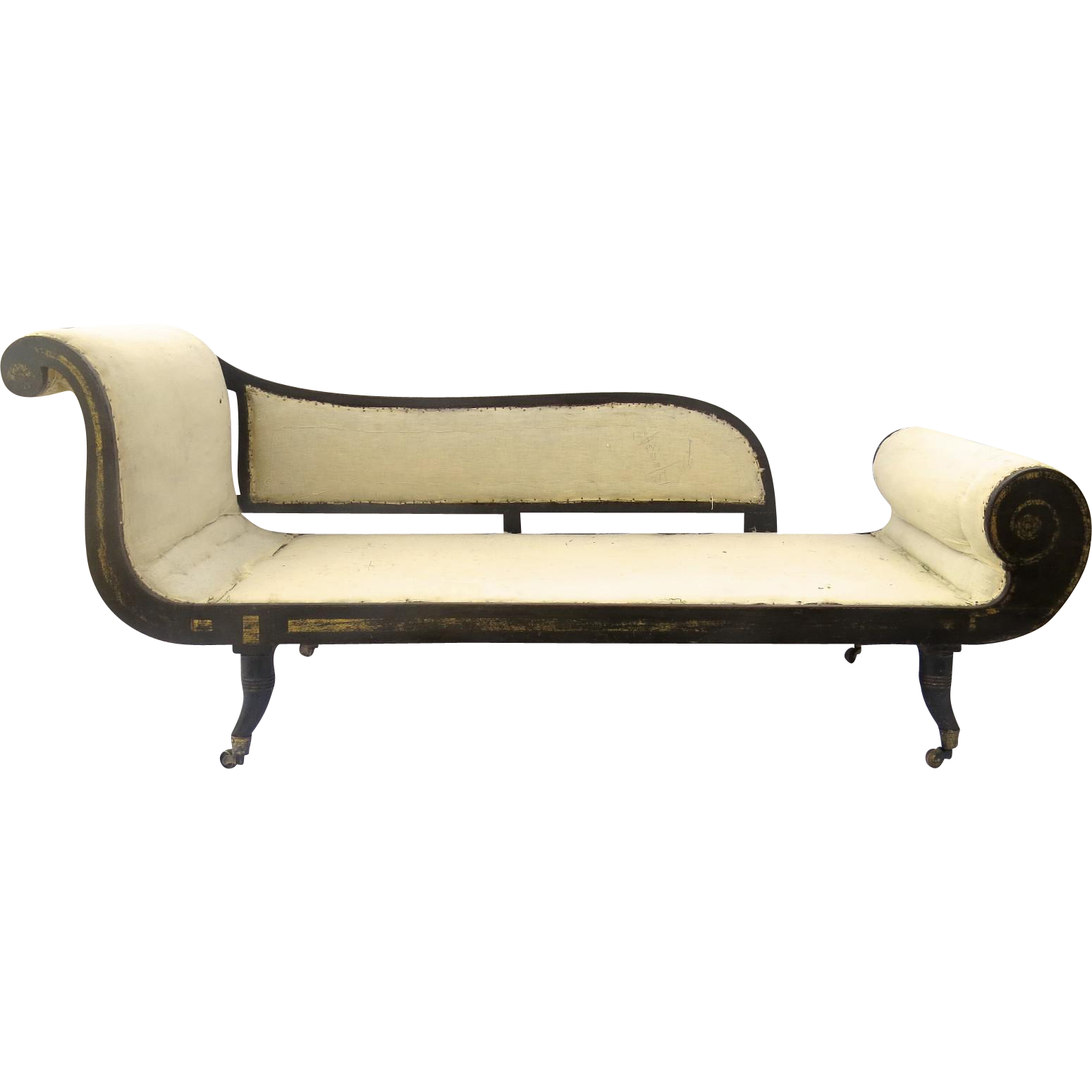 regency recamier chaise lounge daybed ebonized gilt finish. Black Bedroom Furniture Sets. Home Design Ideas