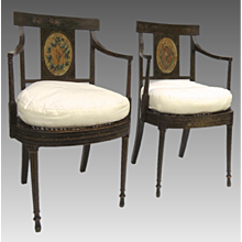 Pair of Hepplewhite Painted Arm Chairs c 1790