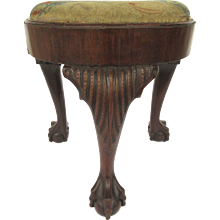 English Regency Mahogany Heart Shaped Seat  Cabriole Leg Ball Claw Stool