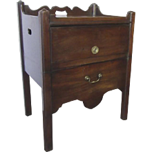 English Mahogany Commode with Campaign Handle Lift Up Compartment Side Table Early 19th Century