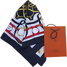 """Hermes Silk Scarf  """"Eperon D'or"""" by Henri d'Origny"""