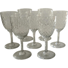 "Vintage Set of Seven (7) Baccarat Wine Glasses Cut Crystal Pattern ""Paris"""