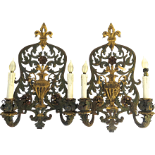 Beautiful Pair of French tole Sconces with center Urn, Acanthus leaf, and Fleur de Lis motif
