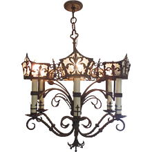 Renaissance Revival Iron Six Arm Chandelier
