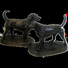 Pair of Bronze Hunting Dogs, Salverte and Vampire by Arthur Waagen 1833 -1898.