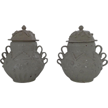 White Tin Glazed Spanish Colonial Lidded Jars White Early 20th Century