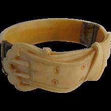 19th Century Buckle Form Carved Faux Ivory Bangle Bracelet
