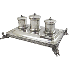 Sterling Silver Inkstand Inkwells Egyptian Revival c 1865 by Gale Snow & Co