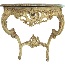 Louis XV Gesso Console Table with Shaped Marble Top.