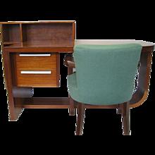 Art Deco Mahogany Desk and Chair