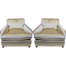 Two French Armchairs in Champagne Satin