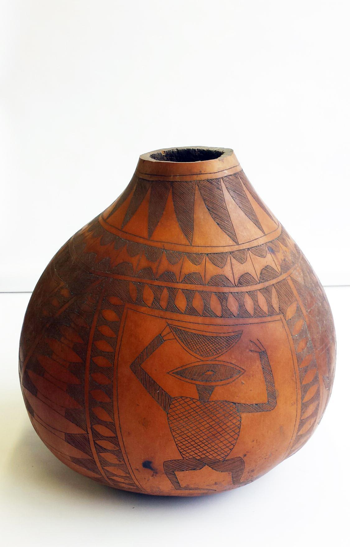 Carved African Gourd From Juan Montoya Design On Rubylux