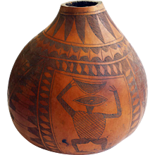 Carved African Gourd