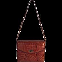 Natural color alligator briefcase type handbag