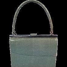 Vintage Asprey Blue Lizard and Sterling Silver Racing Handbag