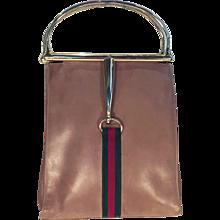 Gucci Leather Horsebit Handbag with Gucci stripe
