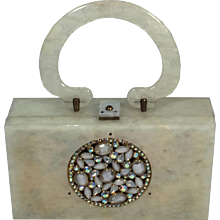 Ivory Lucite and Rhinestone Purse