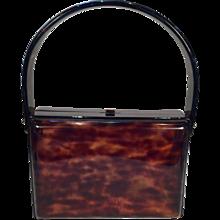Mid-Century Tortoise Lucite Handbag