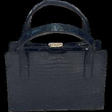 Vintage Black Alligator Bag 1970's